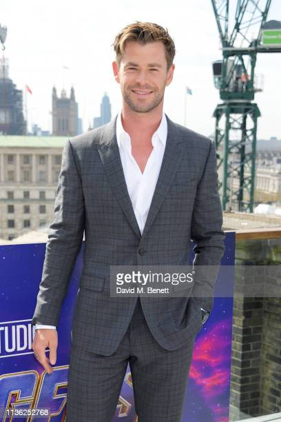 "Chris Hemsworth attends the ""Avengers Endgame"" photocall at Corinthia London on April 11, 2019 in London, England."
