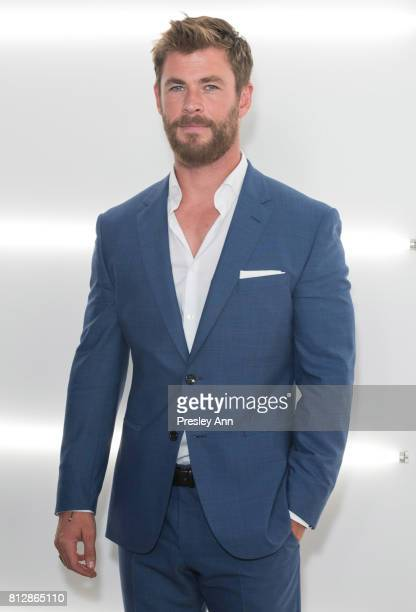 Chris Hemsworth attends the BOSS show during NYFW Men's July 2017 at Fulton Market Building on July 11 2017 in New York City