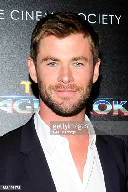 Chris Hemsworth attends The Cinema Society with FIJI Water Men's Journal and Synchrony host a screening of Marvel Studios' 'Thor Ragnarok' at the...