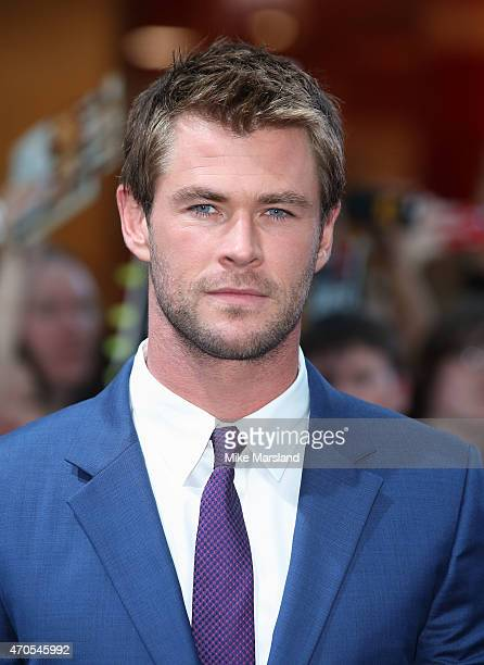 "Chris Hemsworth, attends the European premiere of ""The Avengers: Age Of Ultron"" at Westfield London on April 21, 2015 in London, England."