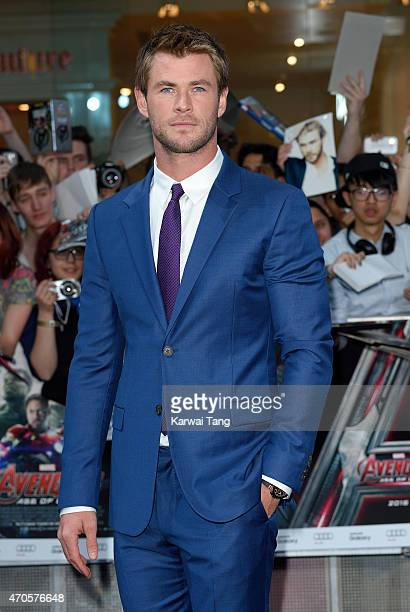 "Chris Hemsworth attends the European premiere of ""The Avengers: Age Of Ultron"" at Westfield London on April 21, 2015 in London, England."