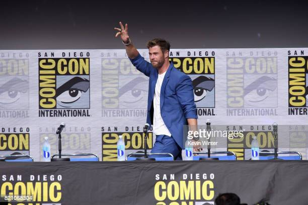 Chris Hemsworth attends the Marvel Studios Presentation during ComicCon International 2017 at San Diego Convention Center on July 22 2017 in San...