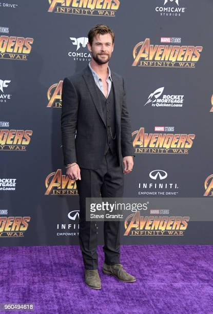 Chris Hemsworth attends the premiere of Disney and Marvel's 'Avengers Infinity War' on April 23 2018 in Los Angeles California