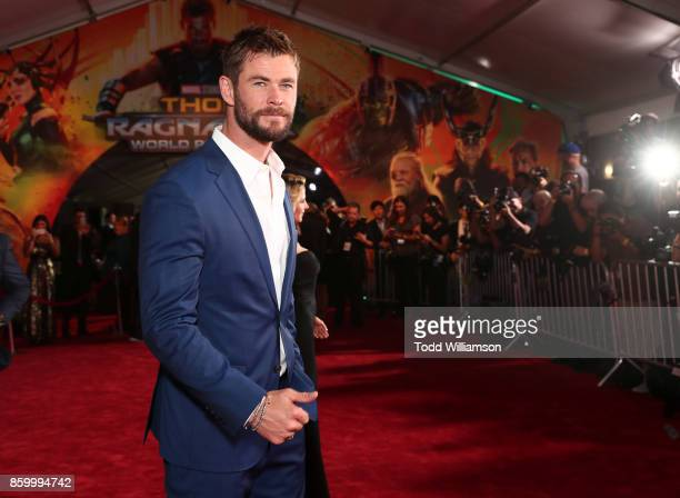 Chris Hemsworth attends the premiere of Disney And Marvel's 'Thor Ragnarok' on October 10 2017 in Los Angeles California