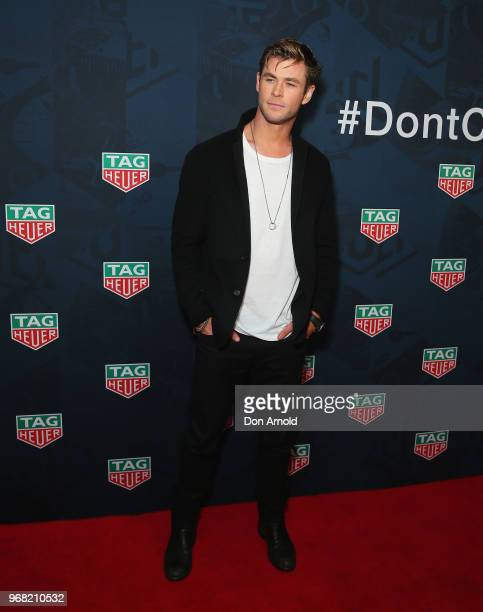 Chris Hemsworth attends the TAG Heuer 'Museum In Motion' Australian Launch at Museum of Contemporary Art on June 6 2018 in Sydney Australia