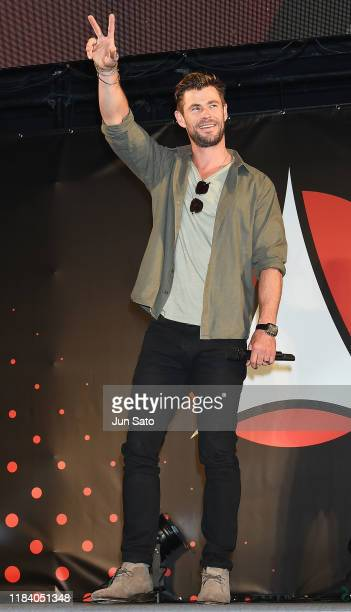 Chris Hemsworth attends the talk event during the Tokyo Comic Con 2019 at Makuhari Messe on November 23 2019 in Chiba Japan