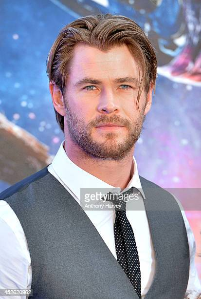 Chris Hemsworth attends the UK Premiere of Guardians of the Galaxy at Empire Leicester Square on July 24 2014 in London England