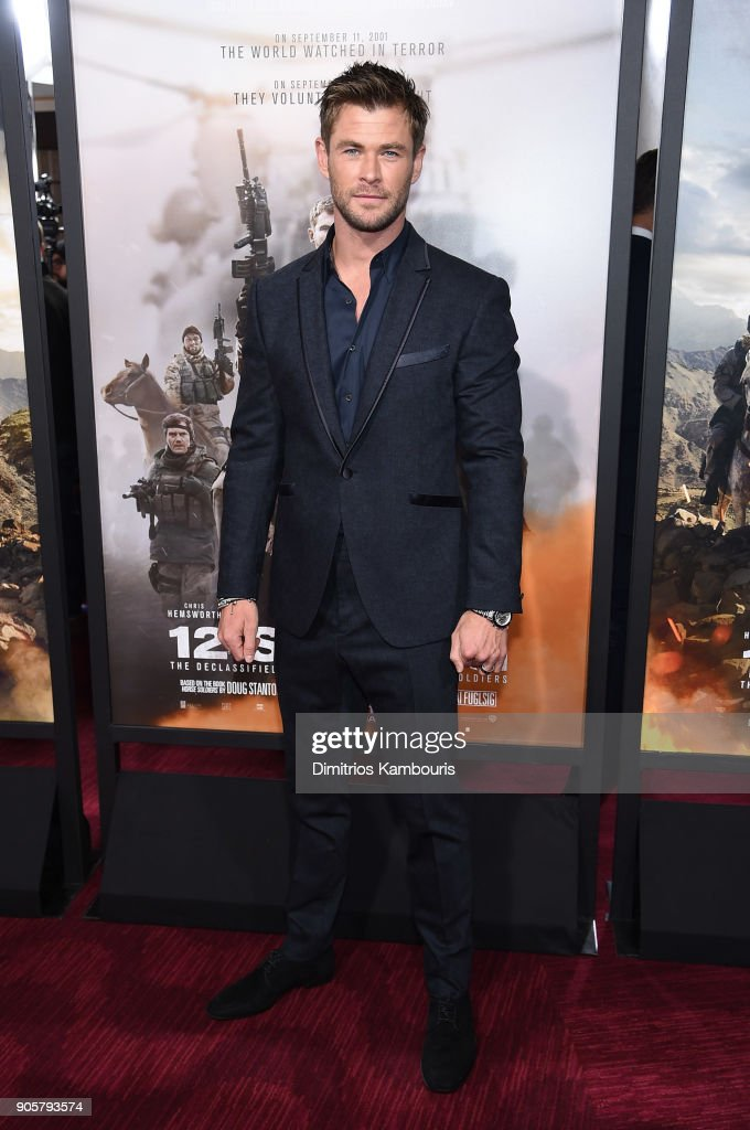 Chris Hemsworth attends the world premiere of '12 Strong' at Jazz at Lincoln Center on January 16, 2018 in New York City.