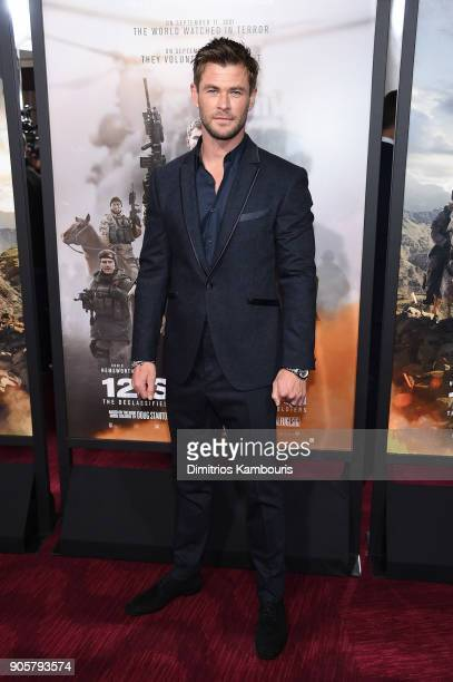 "Chris Hemsworth attends the world premiere of ""12 Strong"" at Jazz at Lincoln Center on January 16, 2018 in New York City."