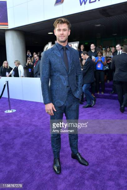 "Chris Hemsworth attends the world premiere of Walt Disney Studios Motion Pictures ""Avengers: Endgame"" at the Los Angeles Convention Center on April..."