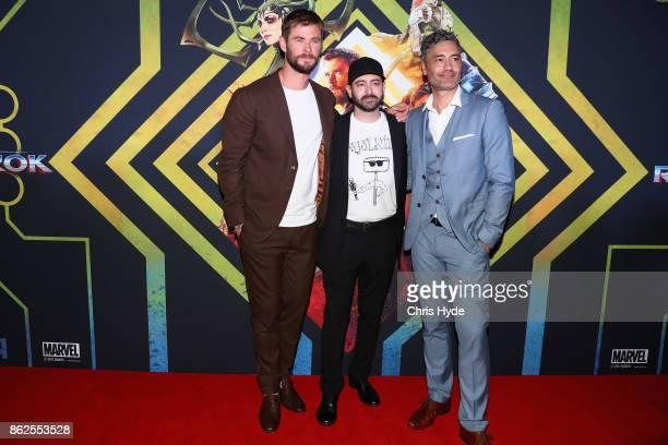 Chris Hemsworth Brad Winderbaum and Taika Waititi arrive for the Thor Ragnarok Australian Premiere at Event Cinemas Robina on October 13 2017 in Gold...