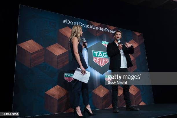 Chris Hemsworth chats with Allison Langdon on stage at the TAG Heuer 'Museum In Motion' Australian Launch at Museum of Contemporary Art on June 6...