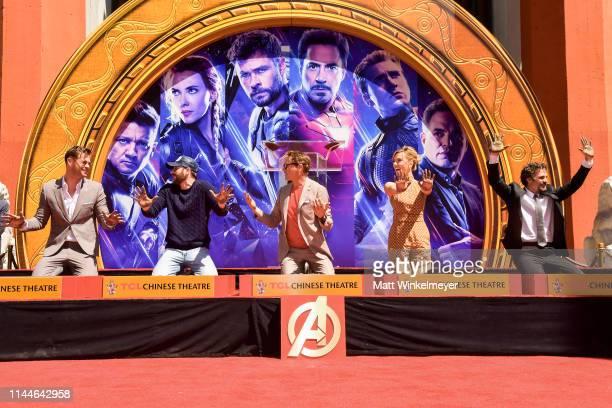 Chris Hemsworth, Chris Evans, Robert Downey Jr., Scarlett Johansson, and Mark Ruffalo pose at the Marvel Studios' 'Avengers: Endgame' Cast Place...