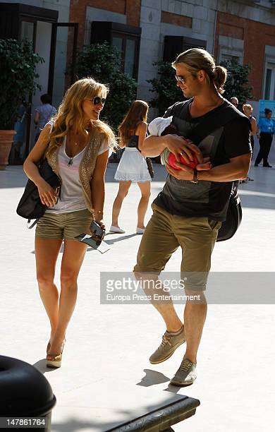 Chris Hemsworth, Elsa Pataky and their daughter India Rose are seen leaving Thyssen Museum on July 4, 2012 in Madrid, Spain.