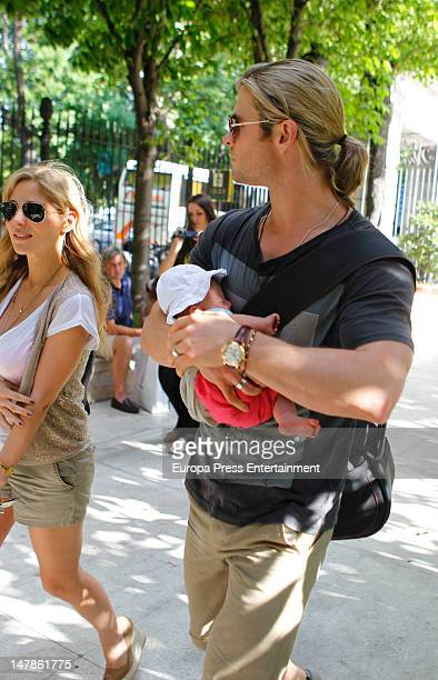 Chris Hemsworth, Elsa Pataky and their daughter India Rose are seen going shopping on July 4, 2012 in Madrid, Spain.