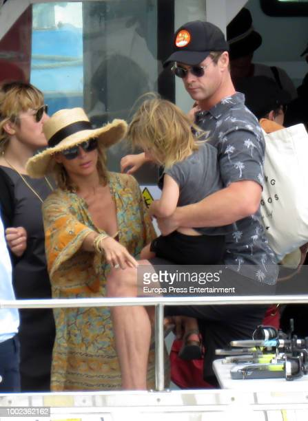 Chris Hemsworth, Elsa Pataky and their son are seen on July 19, 2018 in San Sebastian, Spain.