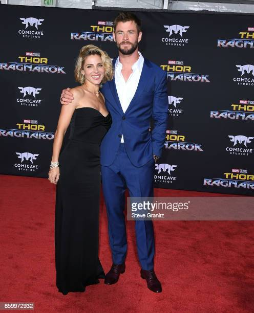 Chris Hemsworth Elsa Pataky arrives at the Premiere Of Disney And Marvel's 'Thor Ragnarok' on October 10 2017 in Los Angeles California
