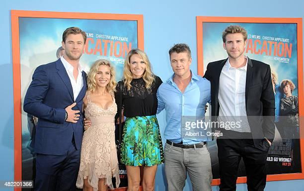 "Chris Hemsworth, Elsa Pataky, Samantha Hemsworth, Luke Hemsworth and Liam Hemsworth arrive for the Premiere Of Warner Bros. Pictures' ""Vacation"" held..."