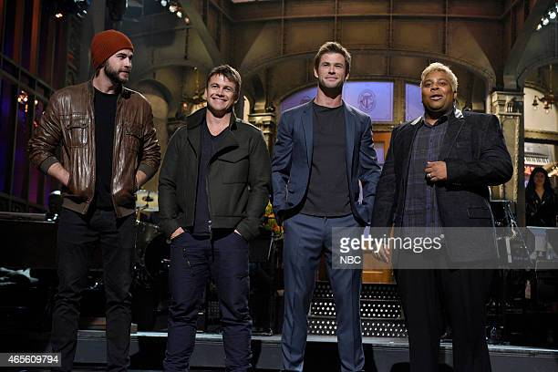 """Chris Hemsworth"""" Episode 1677 -- Pictured: Liam Hemsworth, Luke Hemsworth, Chris Hemsworth and Kenan Thompson during the monologue on March 7, 2015 --"""