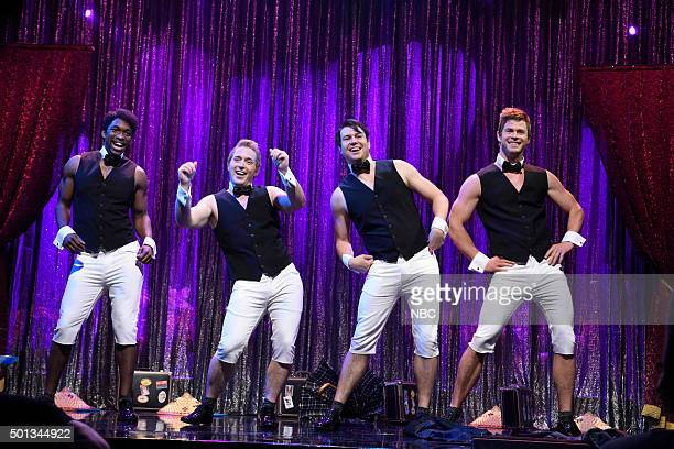 LIVE Chris Hemsworth Episode 1691 Pictured Jay Pharoah Beck Bennett Taran Killam and Chris Hemsworth during the Male Strippers sketch on December 12...