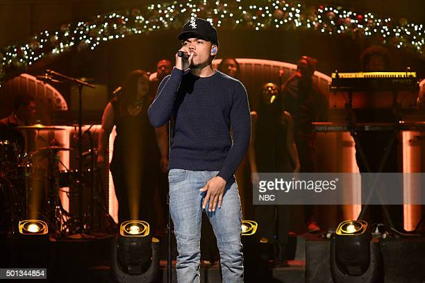 LIVE 'Chris Hemsworth' Episode 1691 Pictured Musical guest Chance The Rapper performs on December 12 2015
