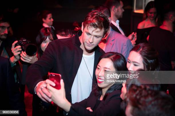 Chris Hemsworth greets fans at the TAG Heuer 'Museum In Motion' Australian Launch at Museum of Contemporary Art on June 6 2018 in Sydney Australia