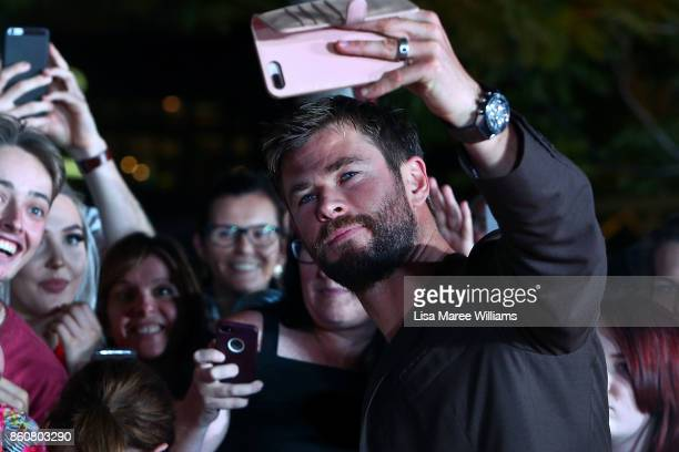 Chris Hemsworth greets fans during the Australian Premiere of Thor Ragnarok on October 13 2017 in Gold Coast Australia