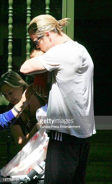 Chris Hemsworth, his daughter India Rose Hemsworth and his mother-in-law Cristina Medianu are seen on July 2, 2012 in Madrid, Spain.