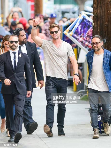 Chris Hemsworth is seen arriving at 'Jimmy Kimmel Live' on April 08 2019 in Los Angeles California