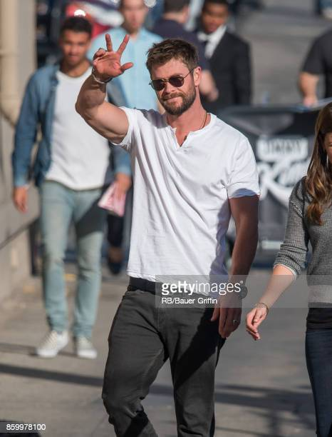 Chris Hemsworth is seen at 'Jimmy Kimmel Live' on October 10 2017 in Los Angeles California