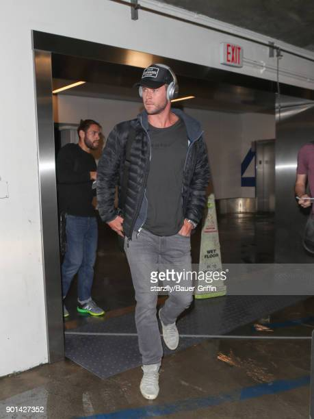 Chris Hemsworth is seen at Los Angeles International Airport on January 04 2018 in Los Angeles California