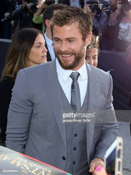 Chris Hemsworth is seen attending the premiere of Universal Pictures' 'The Huntsman Winter's War' at the Regency Village Theatre on April 11 2016 in...