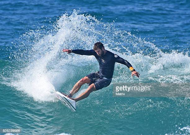 Chris Hemsworth is seen surfing and relaxing at the beach on April 28 2016 in Byron Bay Australia