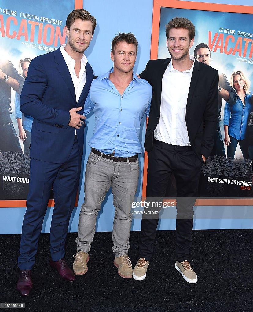 Chris Hemsworth, Luke Hemsworth and Liam Hemsworth arrives at the Premiere Of Warner Bros. 'Vacation' at Regency Village Theatre on July 27, 2015 in Westwood, California.