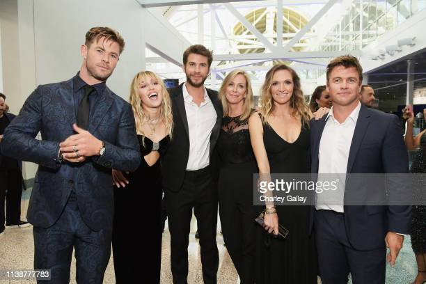 Chris Hemsworth, Miley Cyrus, Liam Hemsworth, Leonie Hemsworth, Samantha Hemsworth and Luke Hemsworth attend the Los Angeles World Premiere of Marvel...