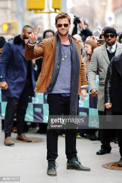 Chris Hemsworth pose for photos with Radioman outside of AOL build on January 16 2018 in New York City