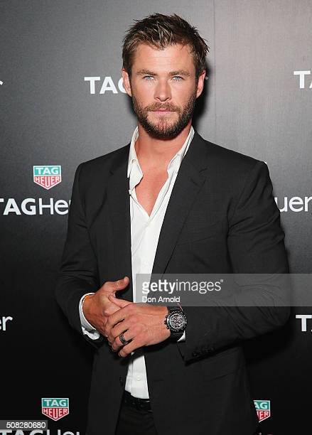 Chris Hemsworth poses at the Australian launch of Heuer 01 at The Royal Botanic Gardens on February 4 2016 in Sydney Australia