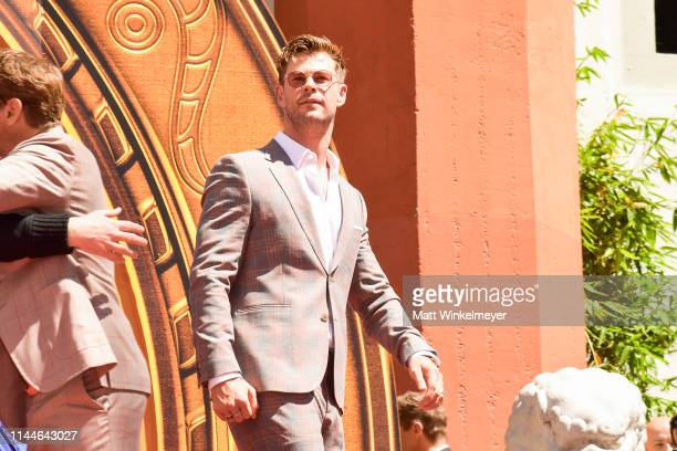 Chris Hemsworth poses at the Marvel Studios' 'Avengers Endgame' Cast Place Their Hand Prints In Cement At TCL Chinese Theatre IMAX Forecourt at TCL...