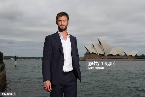 Chris Hemsworth poses during a photo call for Thor Ragnarok on October 15 2017 in Sydney Australia