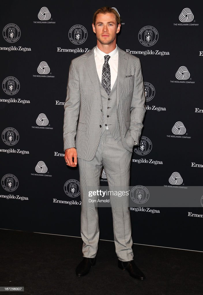 Chris Hemsworth poses during the 50th Anniversary Wool Awards at Royal Hall of Industries, Moore Park on April 23, 2013 in Sydney, Australia.