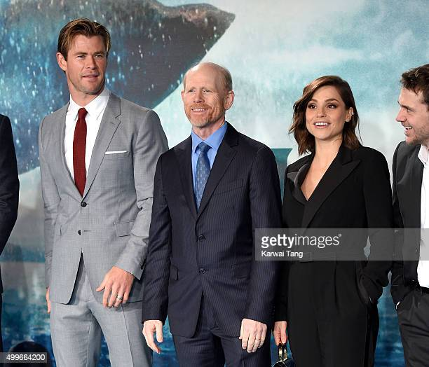 Chris Hemsworth Ron Howard and Charlotte Riley attend the European Premiere of 'In The Heart Of The Sea' at Empire Leicester Square on December 2...