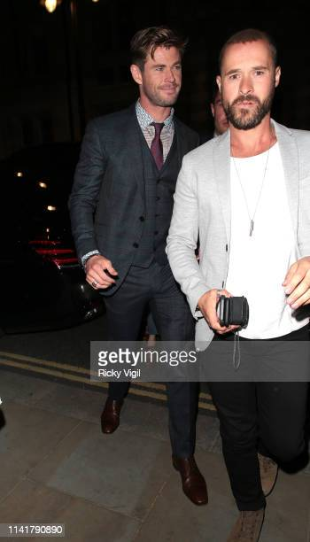 Chris Hemsworth seen leaving Picturehouse Central after attending Avengers Endgame VIP fan event on April 10 2019 in London England