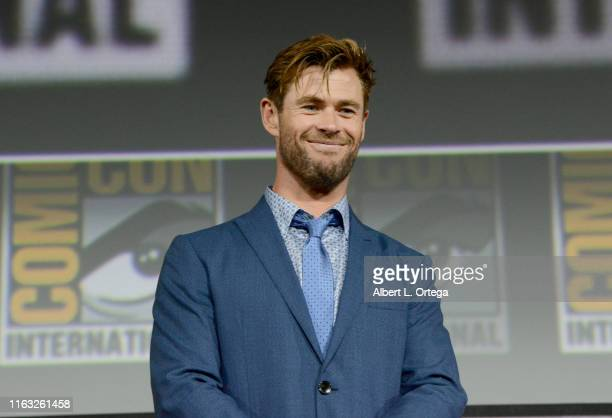 Chris Hemsworth speaks at the Marvel Studios Panel during 2019 ComicCon International at San Diego Convention Center on July 20 2019 in San Diego...