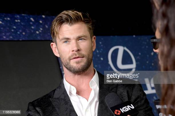 Chris Hemsworth speaks with IGN during a live stream at the World Premiere of Columbia Pictures' MEN IN BLACK™ INTERNATIONAL sponsored by Lexus at...