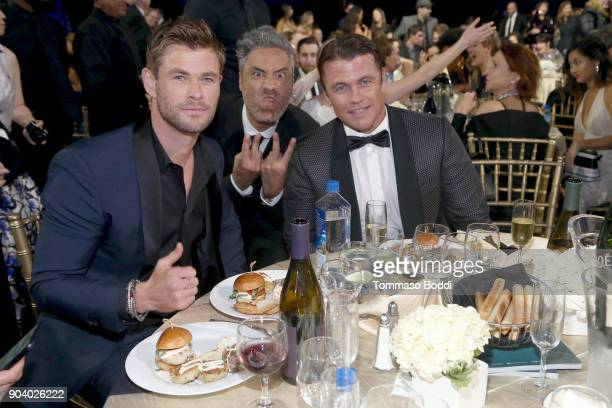 Chris Hemsworth Taika Waititi and Luke Hemsworth attend the 23rd Annual Critics' Choice Awards on January 11 2018 in Santa Monica California
