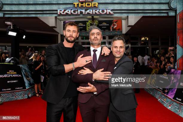 Chris Hemsworth Taika Waititi and Mark Ruffalo attend the Thor Ragnarok Sydney Screening Event on October 15 2017 in Sydney Australia