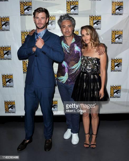 Chris Hemsworth, Taika Waititi and Natalie Portman attend the Marvel Studios Panel during 2019 Comic-Con International at San Diego Convention Center...
