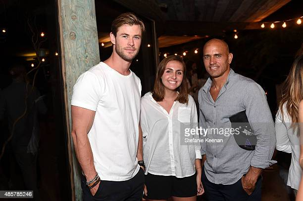 Chris Hemsworth Taylor Slater and Kelly Slater attend Kelly Slater John Moore and Friends Celebrate the Launch of Outerknown at Private Residence on...