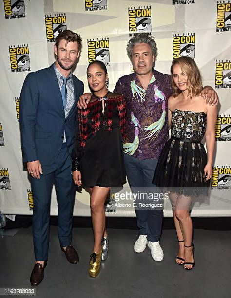 Chris Hemsworth Tessa Thompson Taika Waititi and Natalie Portman of Marvel Studios' 'Thor Love and Thunder' at the San Diego ComicCon International...