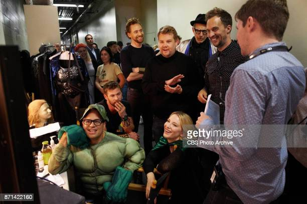 Chris Hemsworth Tom Hiddleston Mark Ruffalo Cate Blanchett Jeff Goldblum with James Corden and producer James Longman during 'The Late Late Show with...